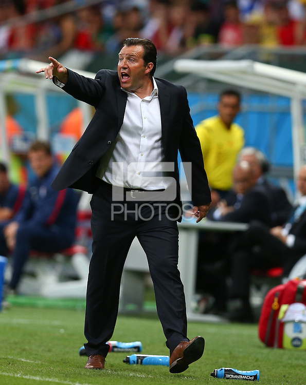 Belgium coach Marc Wilmots gestures on the touchline