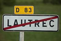 Europe/France/Midi-Pyrénées/81/Tarn/Lautrec: Panneau routier de la commune