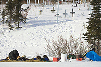 Heather Sirtola works with her team next to the cemetary in Koyuk on Friday during Iditarod 2008