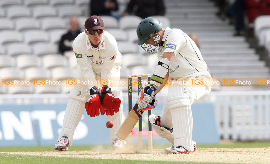 Daryl Mitchell of Worcestershire gets an inside edge with Surrey wicket keeper Steven Davies in close attendance - Surrey CCC vs Worcestershire CCC, LV County Championship Division 1 at The Kia Oval, Kennington - 22/04/12 - MANDATORY CREDIT: Rob Newell/TGSPHOTO - Self billing applies where appropriate - 0845 094 6026 - contact@tgsphoto.co.uk - NO UNPAID USE..