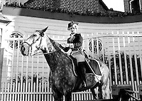 Man in Colonial American garb on horseback at Colonial Village, Chicago World's Fair, 1930's.  (Photographer Unknown/www.bcpix.com)