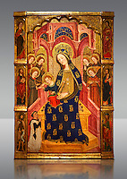 Gothic painted Panel Virgin of the Angels by  Enrique de Estencop. Tempera, stucco reliefs and gold leaf on wood. 1391-1392. Dimensions 142.2 x 99 x 8 cm.  National Museum of Catalan Art, Barcelona, Spain, inv no: 064025-000