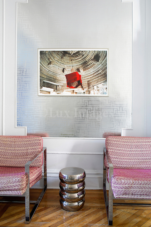 modern pink armchairs