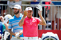 Rickie Fowler (USA) waits to tee off on the first hole during the third round of the 100th PGA Championship at Bellerive Country Club, St. Louis, Missouri, USA. 8/11/2018.<br /> Picture: Golffile.ie | Brian Spurlock<br /> <br /> All photo usage must carry mandatory copyright credit (&copy; Golffile | Brian Spurlock)