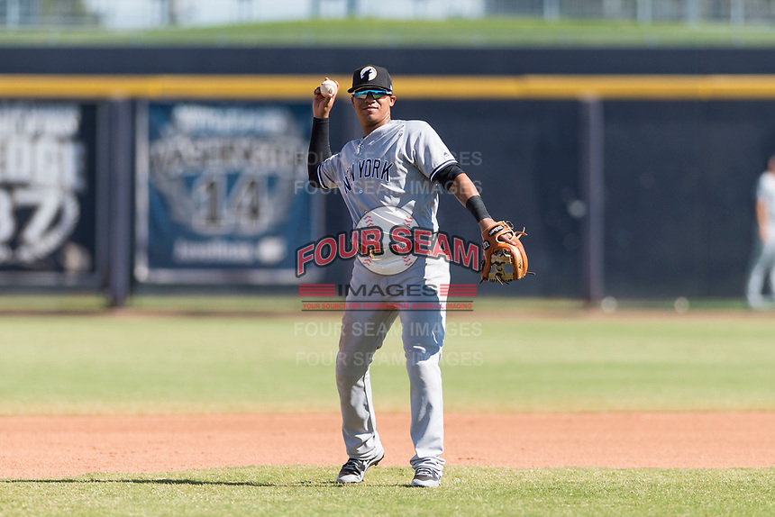 Glendale Desert Dogs shortstop Thairo Estrada (90), of the New York Yankees organization, throws during an Arizona Fall League game against the Peoria Javelinas at Peoria Sports Complex on October 22, 2018 in Peoria, Arizona. Glendale defeated Peoria 6-2. (Zachary Lucy/Four Seam Images)