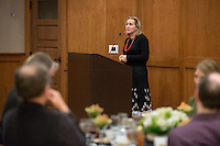 History professor and chair of the department Marla Stone. The Occidental College History Department hosts a dinner for the Ray Allen Billington Visiting Professorship in United States History, which Oxy co-founded with the Huntington Library, November 17, 2014 in Dumke Commons, Swan Hall. (Photo by Marc Campos, Occidental College Photographer)