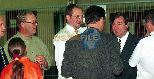 Labour party members talk to Finian Brannigan  at the Count in St. Olivers College.Pic Fran Caffrey / Newsfile