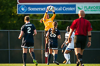 Sky Blue FC goalkeeper Brittany Cameron (1) grabs a pass. Sky Blue FC defeated the Boston Breakers 5-1 during a National Women's Soccer League (NWSL) match at Yurcak Field in Piscataway, NJ, on June 1, 2013.