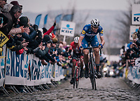 Niki Terpstra (NED/Quick-Step Floors) leading the race over the last ascent of the Oude Kwaremont<br /> <br /> 102nd Ronde van Vlaanderen 2018 (1.UWT)<br /> Antwerpen - Oudenaarde (BEL): 265km