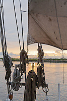 Ropes and rigging, at sunset, on the Historic Tall Ship, A.J. Meerwald, New Jersey