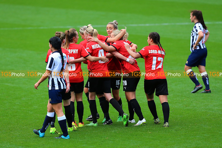 Sheffield players celebrate their first goal during Millwall Lionesses vs Sheffield FC Ladies, FA Women's Super League FA WSL2 Football at The Den on 9th October 2016