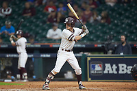 Jake Mangum (15) of the Mississippi State Bulldogs at bat against the Houston Cougars in game six of the 2018 Shriners Hospitals for Children College Classic at Minute Maid Park on March 3, 2018 in Houston, Texas. The Bulldogs defeated the Cougars 3-2 in 12 innings. (Brian Westerholt/Four Seam Images)