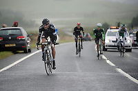 Kristian House (GBR) attacking on the first KOM of the day<br /> <br /> 2013 Tour of Britain<br /> stage 1: Peebles - Drumlanrig Castle, 209km