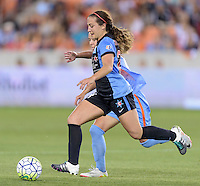 Danielle Colaprico (24) of the Chicago Red Stars races for the goal in the first half with Andressa (17) of the Houston Dash attempting to stop her on Saturday, April 16, 2016 at BBVA Compass Stadium in Houston Texas.