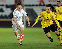 Pictured L-R: Dan James of Swansea against Oscar Borg of Aston Villa Monday 25 April 2016<br /> Re: Play Off semi final, Swansea City AFC U21 v Aston Villa FC U21 at the Liberty Stadium, Swansea, UK