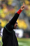 EUGENE, OR - OCTOBER 29: Linebackers coach Don Pellum signals out to his team during the third quarter of the game against the Washington State Cougars at Autzen Stadium on October 29, 2011 in Eugene, Oregon. Oregon won the game 43-28. (Photo by Steve Dykes/Getty Images) *** Local Caption *** Don Pellum