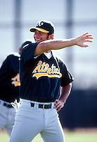 Eric Chavez of the Oakland Athletics during a game at Phoenix Municipal Stadium in Phoenix, Arizona during 1997 spring training.(Larry Goren/Four Seam Images)