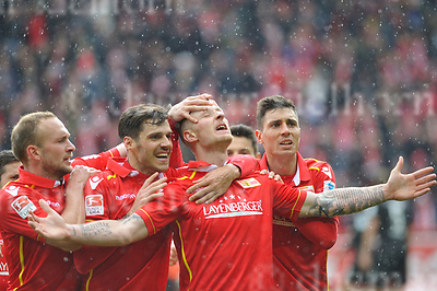 Apr-16-2017,Stadium Alte F&ouml;rsterei,Berlin,Germany<br /> 2nd Bundesliga - gameday 29 1.FC Union Berlin - 1.FC Kaiserslautern <br /> Scorer Sebastian Polter,m,happy in the rain with teammates