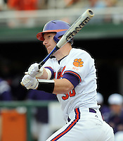 Clemson's Doug Hogan hits a game between the Mercer Bears and Clemson Tigers at Doug Kingsmore Stadium on Feb. 24, 2008, in Clemson, S.C. Clemson won 10-3. Photo by:  Tom Priddy/Four Seam Images