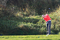 Alex MaGuire (Laytown &amp; Bettystown) on the 10th tee during Round 3 of the Ulster Boys Championship at Portrush Golf Club, Portrush, Co. Antrim on the Valley course on Thursday 1st Nov 2018.<br /> Picture:  Thos Caffrey / www.golffile.ie<br /> <br /> All photo usage must carry mandatory copyright credit (&copy; Golffile | Thos Caffrey)
