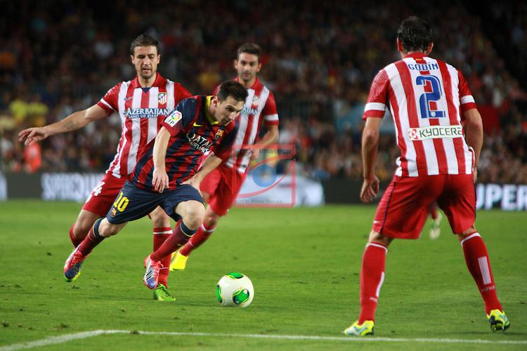 Supercopa de Espanya - Tornada.<br /> 2013-08-28-FC Barcelona vs Atletico de Madrid: 0-0.<br /> Gabi, Lionel Messi &amp; Godin.