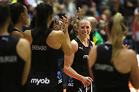 19.01.2019 Silver Ferns Laura Longman congratulated by her team mates after her 150th match during the Silver Ferns v Australia netball test match at The Copper Box Arena. Mandatory Photo Credit ©Michael Bradley Photography/Christopher Lee