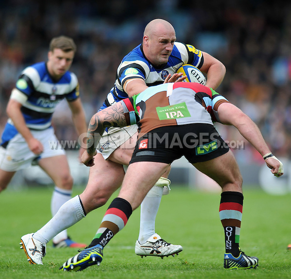 Carl Fearns takes on the Harlequins defence. Aviva Premiership match, between Harlequins and Bath Rugby on May 10, 2014 at the Twickenham Stoop in London, England. Photo by: Patrick Khachfe / Onside Images