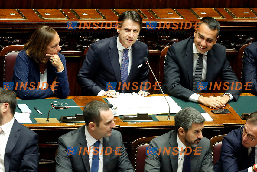Luciana Lamorgese, Giuseppe Conte and Luigi di Maio<br /> Rome September 9th 2019. Lower Chamber. Programmatic speech of the new appointed Italian Premier at the Chamber of Deputies to explain the program of the yellow-red executive. After his speech the Chamber is called to the trust vote at the new Government. <br /> Foto  Samantha Zucchi Insidefoto