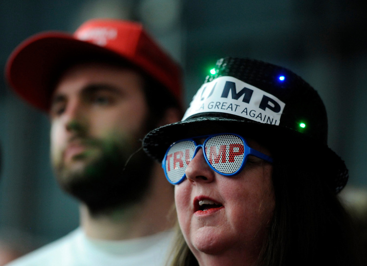 (Milford, NH, 02/02/16) Guests listen as Republican candidate for president Donald Trump speaks during a rally in Milford, NH, on Tuesday, February 02, 2016. Photo by Christopher Evans