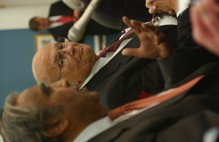11/20/03.MEDICARE CONFERENCE--Rep. John D. Dingell, D-Mich., looks on as House Ways and Means ranking Democrat Charles B. Rangel, D-N.Y., makes his statement during the meeting of the Medicare Conference. He criticized Sen. Max Baucus, D-Mont., and Rep. Billy Tauzin, R-La., for encouraging him and other Democrats to maintain a spirit of bipartisanship because he and other Democrats were excluded from negotiations. .CONGRESSIONAL QUARTERLY PHOTO BY SCOTT J. FERRELL