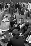 Nationwide Festival of Light London September 1971 was a short-lived grassroots movement formed by British Christians concerned about the rise of the permissive society and social changes in English society. Hyde Park, 1970s UK Older elderly woman trying to convince younger generation of the Christian way of life. 70s UK
