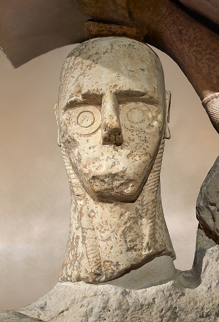 Close up of head of 9th century BC Giants of Mont'e Prama  Nuragic stone statue of a boxer, Mont'e Prama archaeological site, Cabras. 2014 excavation. Civico Museo Archeologico Giovanni Marongiu - Cabras, Sardinia