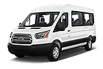 2019 Ford Transit Wagon 350 XLT Wagon Med Roof Sliding Pass. 148 5 Door Passenger Van angular front stock photos of front three quarter view