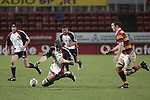 Andrew Van der Hiejden goes to ground to claim the loose ball during the Air NZ Cup week 5 game between Waikato & Counties Manukau played at Rugby Park, Hamilton on 26th of August 2006.