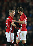 Bastian Schweinsteiger of Manchester United celebrates with Michael Carrick of Manchester United during the English League Cup Quarter Final match at Old Trafford  Stadium, Manchester. Picture date: November 30th, 2016. Pic Simon Bellis/Sportimage