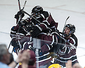The Dutchmen celebrate Gostisbehere's goal. - The Union College Dutchmen defeated the University of Minnesota Golden Gophers 7-4 to win the 2014 NCAA D1 men's national championship on Saturday, April 12, 2014, at the Wells Fargo Center in Philadelphia, Pennsylvania.