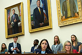 United States Representative Alexandria Ocasio-Cortez (Democrat of New York) questions Chair of the Federal Reserve Jerome Powell during his testimony before the House Financial Services Committee on Capitol Hill in Washington D.C., U.S. on July 10, 2019.<br /> <br /> Credit: Stefani Reynolds / CNP