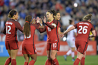 San Diego, CA - Sunday January 21, 2018: Crystal Dunn, Carli Lloyd prior to an international friendly between the women's national teams of the United States (USA) and Denmark (DEN) at SDCCU Stadium.