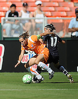 Sky Blue FC defender  Keeley Dowling works hard to maintain control over Washington Freedom forward  Lisa De Vanna (17).  Washington Freedom defeated Skyblue FC 2-1 at RFK Stadium, Saturday May 23, 2009.