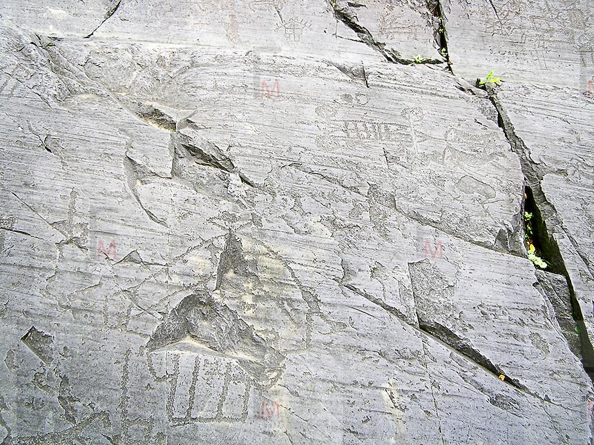 Parco Nazionale delle incisioni rupestri di Campo di Ponte in Valcamoonica, provincia di Brescia.