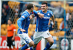 St Johnstone v Dundee United...26.09.15  SPFL   McDiarmid Park, Perth<br /> Graham Cummins celebrates his goal with Dave Mackay<br /> Picture by Graeme Hart.<br /> Copyright Perthshire Picture Agency<br /> Tel: 01738 623350  Mobile: 07990 594431