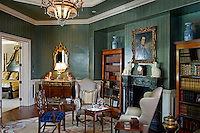 Master Suite sitting room is European estate inspired with painted emerald green<br />