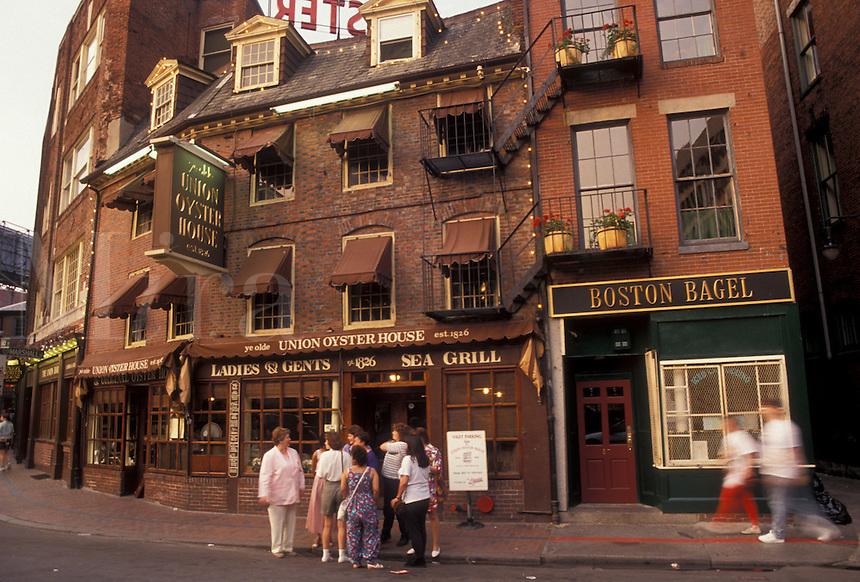 AJ4426, Boston, Massachusetts, Shops and restaurants along the street in Marketplace in downtown Boston in the state of Massachusetts.