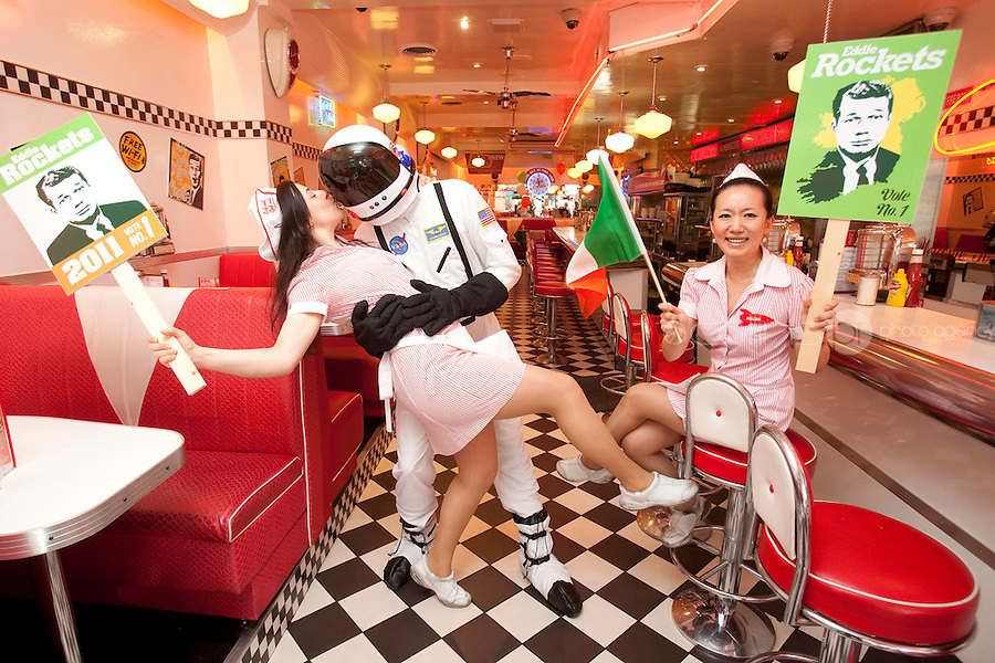 NO REPRO FEE.27/9/2011. EDDIE ROCKET FOR PRESIDENT. Pictured at the restaurant on South Anne St. Dublin with waitress Szilvia Szendrei and Cici Eddie Rocket, one of Ireland's leading restaurateurs, has thrown his helmet into the Presidential race.Eddie, who runs a group of 41 City Diners employing over 1,000 people around Ireland and abroad, believes he is the man for the Aras.Get the full lowdown on Eddie's campaign on www.eddierockets.ie/eddieforpresident Picture James Horan/Collins Photos