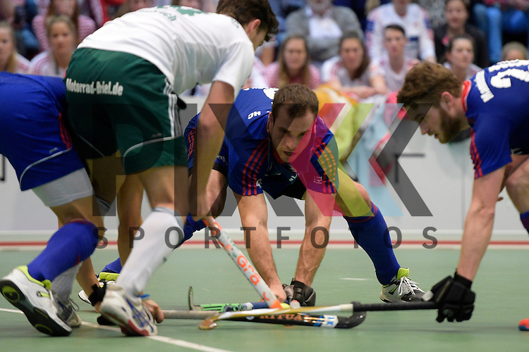 GER - Luebeck, Germany, February 06: During the 1. Bundesliga Herren indoor hockey semi final match at the Final 4 between Uhlenhorst Muelheim (white) and Mannheimer HC (blue) on February 6, 2016 at Hansehalle Luebeck in Luebeck, Germany.  Final score 2-3 (HT 7-5).  Tomas Prochazka #5 of Mannheimer HC<br /> <br /> Foto &copy; PIX-Sportfotos *** Foto ist honorarpflichtig! *** Auf Anfrage in hoeherer Qualitaet/Aufloesung. Belegexemplar erbeten. Veroeffentlichung ausschliesslich fuer journalistisch-publizistische Zwecke. For editorial use only.