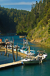 Fishing boats docked in the Albion River, Mendocino County, California