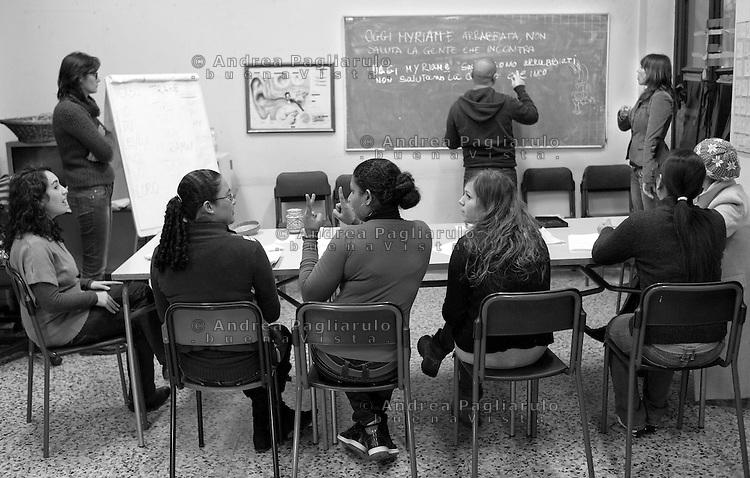 Milano, viale Zara, scuola Giulio Tarra.<br /> Corsi di italiano per stranieri non udenti.<br /> Italian language courses for foreigners deaf person.
