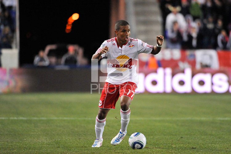 Juan Agudelo (17) of the New York Red Bulls. The New York Red Bulls defeated the Seattle Sounders 1-0 during a Major League Soccer (MLS) match at Red Bull Arena in Harrison, NJ, on March 19, 2011.