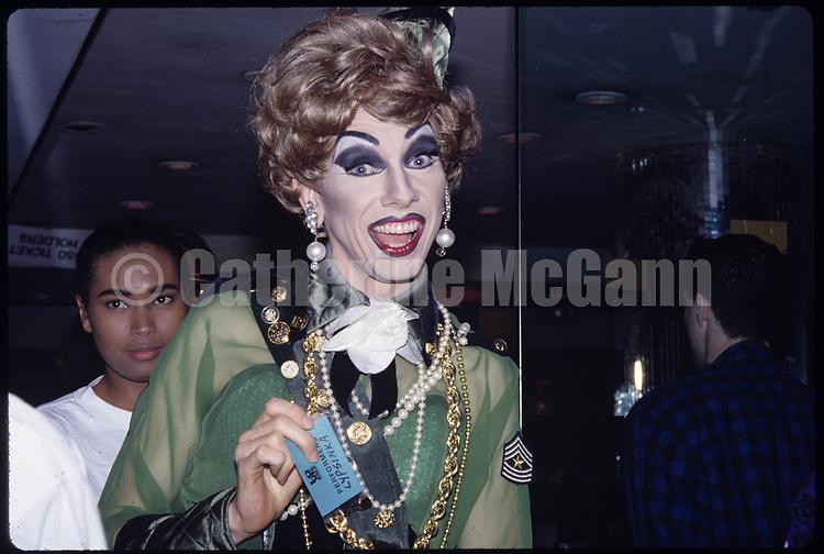1988:   Lypsinka at a drag ball in Harlem, New York City in 1988.