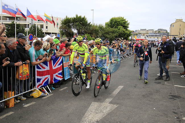 Rafal Majka (POL) and Tinkoff team make their way to sign on before the start of Stage 3 of the 2016 Tour de France, running 223.5km from Granville to Angers, France . 4th July 2016.<br /> Picture: Eoin Clarke | Newsfile<br /> <br /> <br /> All photos usage must carry mandatory copyright credit (&copy; Newsfile | Eoin Clarke)